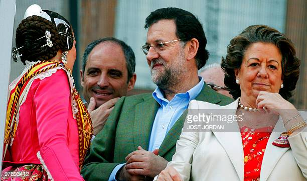 Conservative opposition leader Mariano Rajoy of the Popular Party Mayor of Valencia Rita Barbera Francisco Camps President of the Valencian Community...