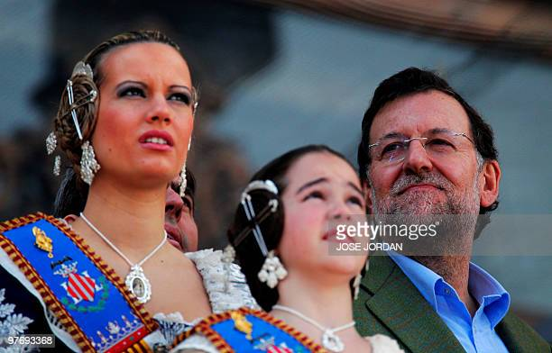Conservative opposition leader Mariano Rajoy of the Popular Party looks on as he attends the Fallas Festival at the La mascleta in Valencia on March...