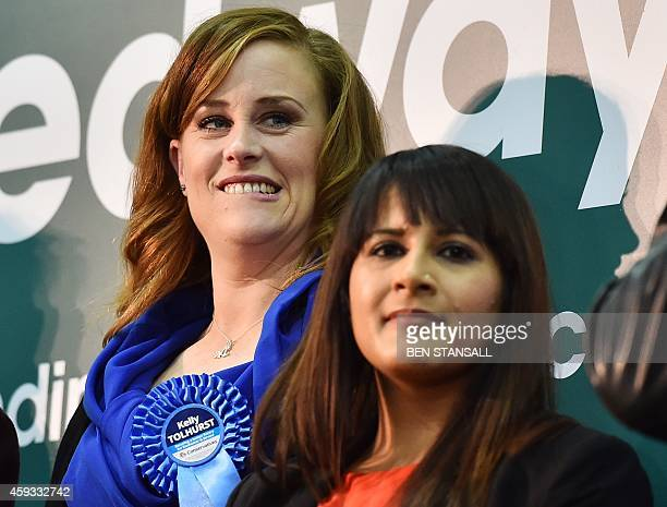 Conservative parliamentary candidate Kelly Tolhurst and Labour parliamentary candidate Naushabah Khan look on as UK Independence Party parliamentary...