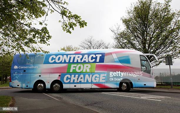 Conservative Party battle bus carrying leader David Cameron leaves Dudley Ambulance Station after a visit to meet staff there on May 5 2010 in Dudley...
