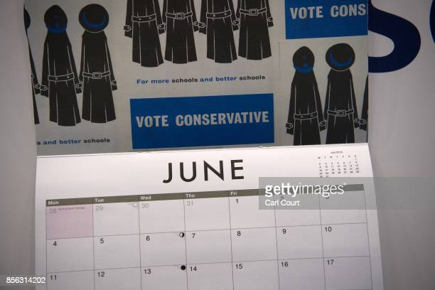 Conservative Party calendar is displayed on the first day of the annual Conservative Party conference on October 1 2017 in Manchester England Theresa...