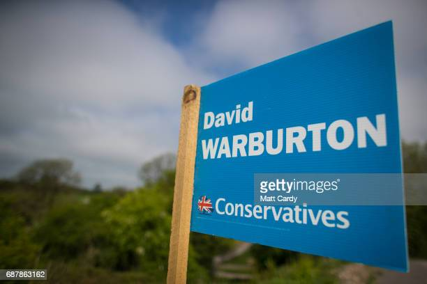 Conservative party campaign board that has been erected besides the road is seen near the village of Holcombe on May 24 2017 in Somerset England...