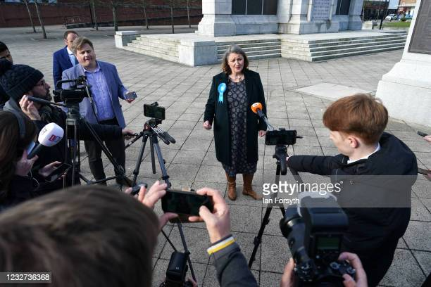 Conservative Party candidate for Hartlepool Jill Mortimer gives a press conference after being declared the winner in the Hartlepool Parliamentary...