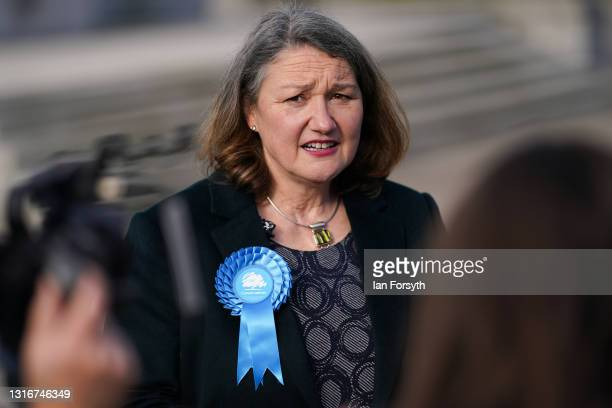 Conservative Party candidate for Hartlepool Jill Mortimer gives media interviews after she is declared the winner of the Hartlepool Parliamentary...