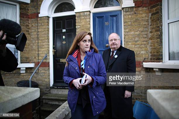 Conservative party candidate Kelly Tolhurst campaigns with Communities Secretary Eric Pickles on November 19 2014 in Rochester England A...