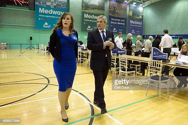 Conservative Party candidate Kelly Tolhurst walks around the ballot counting centre in Medway Park on November 21 2014 in Rochester England Voting...