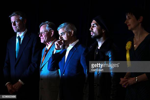 Conservative Party candidate Zac Goldsmith London mayoral candidate for Cista Lee Harris Labour mayoral candidate Sadiq Khan and Ankit Love of the...