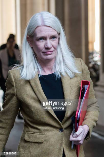 Conservative Party Chairman and Minister without Portfolio Amanda Milling returns to Downing Street in central London after attending weekly Cabinet...