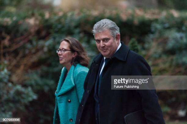 Conservative Party Chairman and Minister without Portfolio Brandon Lewis arrives for a weekly cabinet meeting at 10 Downing Street in central London...