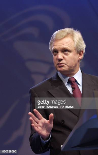 Conservative Party Chairman David Davis speaks to the party conference in Blackpool before the emergency recall to Westminster * 23/07/02 David Davis...