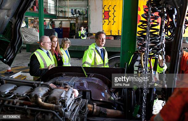 Conservative Party councillors Kelly Tolhurst Anna Firth and Prime Minister David Cameron visit Swain Group hauliers on October 16 2014 in Strood...