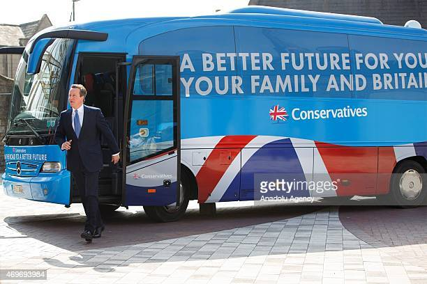 Conservative Party leader and Prime Minister David Cameron unveils the Conservative party manifesto on April 14 2015 in Swindon England
