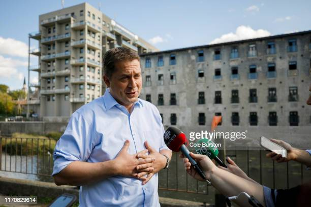 Conservative Party Leader Andrew Scheer speaks during a media scrum at a campaign stop on September 24 2019 in Cambridge Canada Scheer is facing...