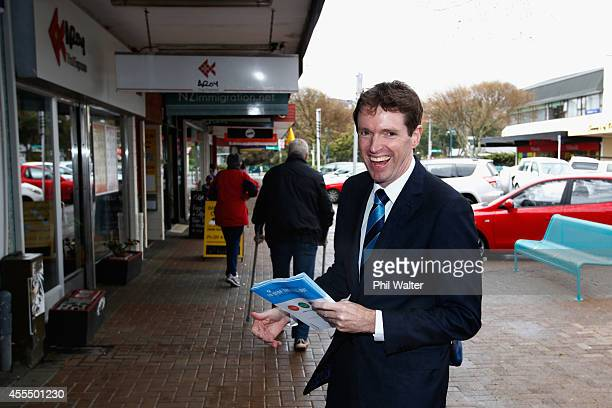 Conservative party leader Colin Craig walks through Browns Bay after casting an early vote on September 16 2014 in Auckland New Zealand The 2014 New...