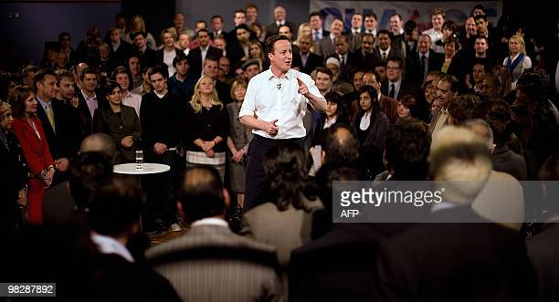 Conservative Party leader David Cameron addresses an audience of supporters at a rally in Leeds City Museum in Leeds on April 6 2010 With the general...