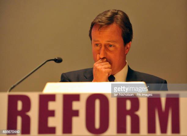 Conservative Party leader David Cameron addresses the Reform thinktank pledging to cut the number of quangos starting with communications regulator...