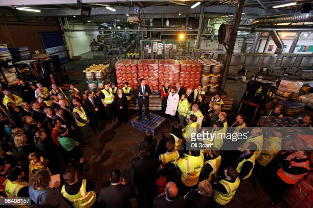 Conservative party leader David Cameron addresses workers during a visit to the Fuller's brewery on April 12 2010 in London England Mr Cameron...