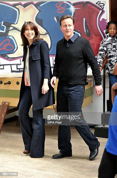 Conservative Party Leader David Cameron and his wife Samantha Cameron during a visit to the Pedro Club in Hackney on April 02 2010 in London England...