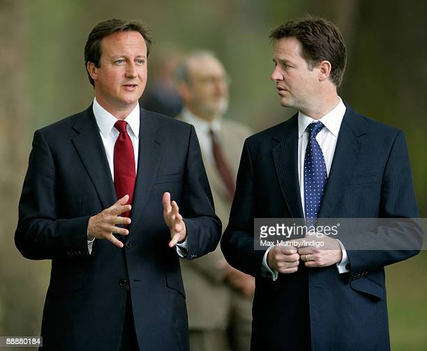 Conservative Party Leader David Cameron and Nick Clegg attend the unveiling of the July 7 bombings memorial service at Hyde Park on July 7 2009 in...