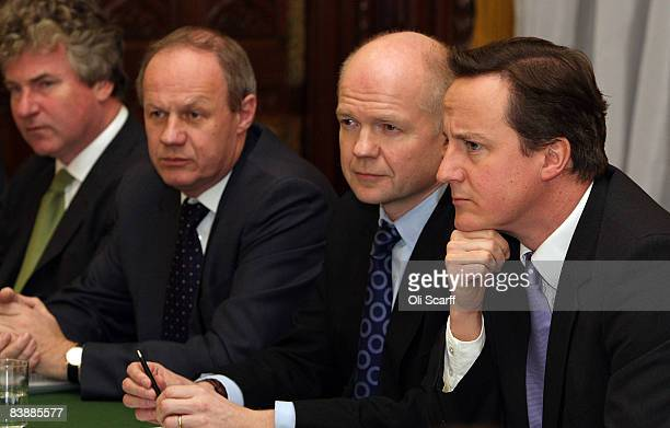 Conservative Party leader David Cameron and William Hague hold a shadow Cabinet meeting in the Palace of Westminster with Damian Green in attendance...