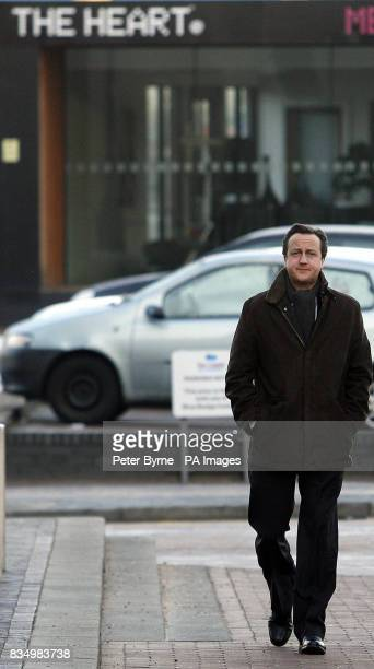 Conservative Party leader David Cameron arrives at the Lowry Theatre Salford Manchester