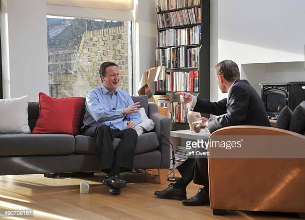 Conservative Party leader David Cameron being interviewed live by Andrew Marr in the living room of his house in west London for the Andrew Marr Show