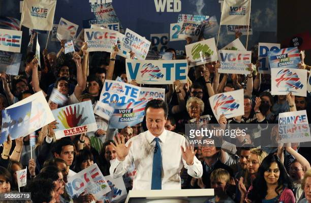 Conservative Party leader David Cameron campaigns at a party rally at the end of his 24hr campaign stint on May 5 2010 in Bristol United Kingdom The...