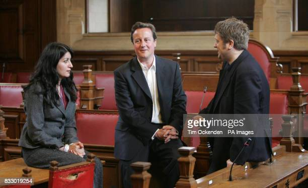 Conservative Party leader David Cameron during a visit to Oxford Town Hall Oxford with local councillors Paul Sargent and Dr Tia McGregor