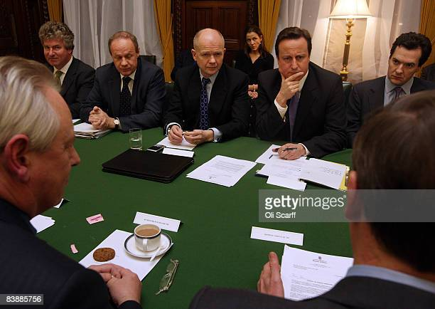 Conservative Party leader David Cameron holds a shadow Cabinet meeting with George Osbourne William Hague and Damian Green in the Palace of...