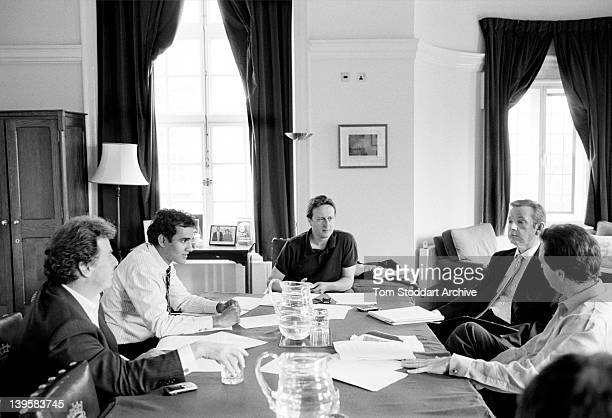 Conservative Party leader David Cameron pictured with advisors George Osbourne Micheal Gove Oliver Letwin and Rohan Silva in his office during...