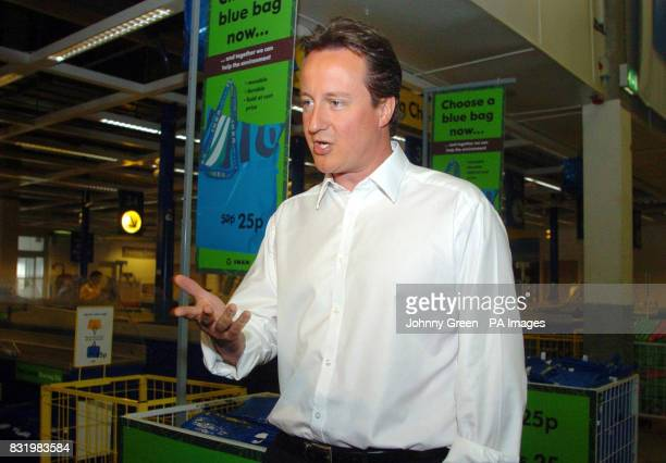 Conservative Party leader David Cameron shops for ecofriendly goods at IKEA Wembley in north London to mark World Environment Day
