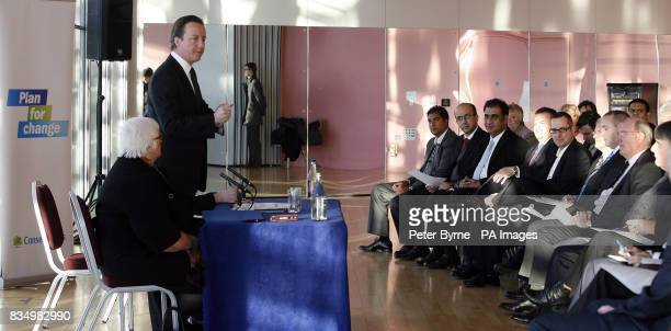 Conservative Party leader David Cameron speaks at the Lowry Theatre Salford Manchester