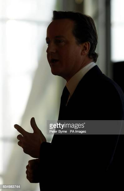 Conservative Party leader David Cameron speaks to business leaders at the Lowry Theatre Salford Manchester