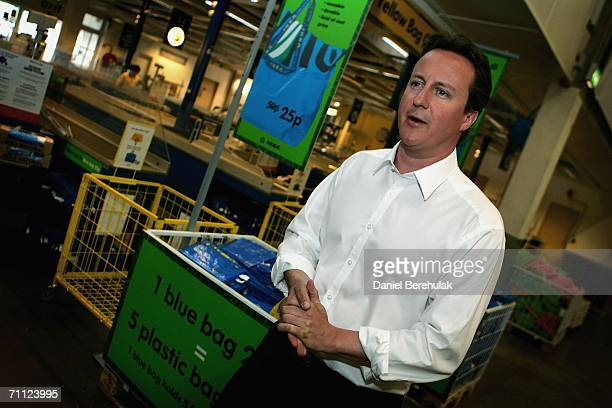 Conservative Party leader David Cameron speaks to media on June 5 2006 in London David Cameron departed on an Environmentally friendly shopping trip...
