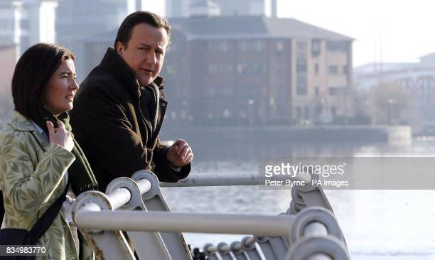 Conservative Party leader David Cameron with Susan Williams Leader of Trafford Council at the Lowry Theatre Salford Manchester