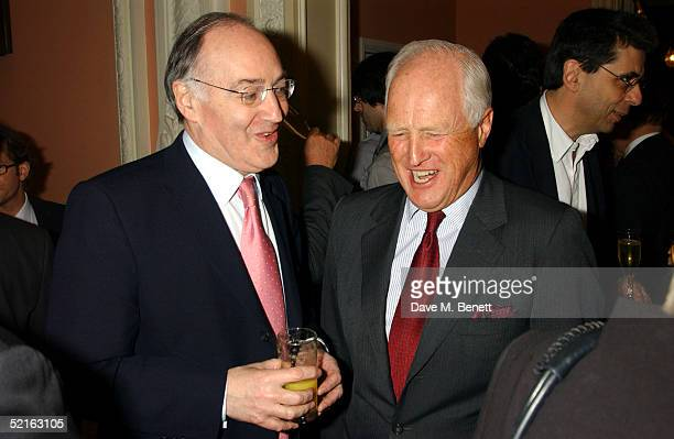 Conservative Party Leader Michael Howard and former MP Winston Churchill attend the book launch for historian Andrew Roberts new book Waterloo at the...