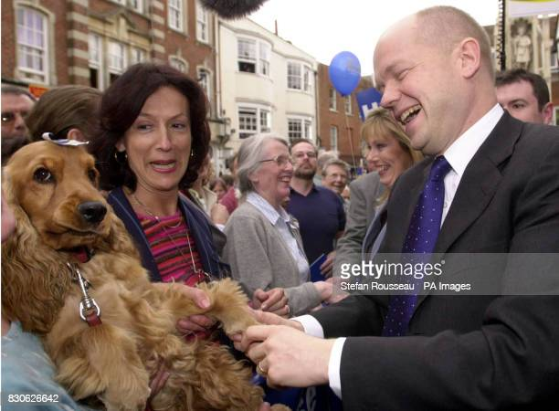 Conservative Party leader Willaim Hague meets Tiffin the dog and her owner in Winchester Hampshire during a frenetic last day of campaigning with his...