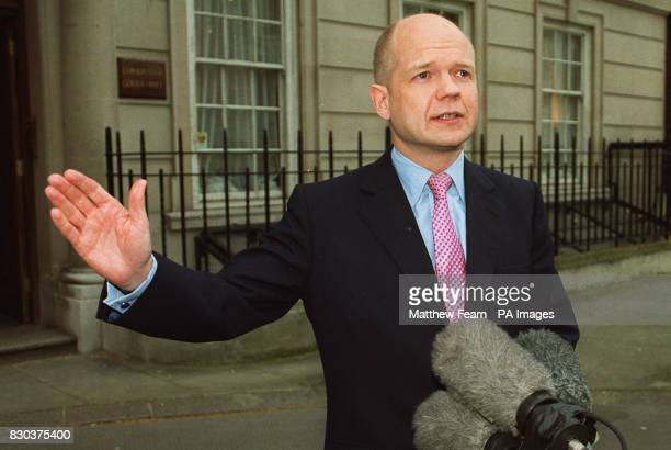 Conservative Party leader William Hague talks to journalists in central London following his party's success in local elections across England The...