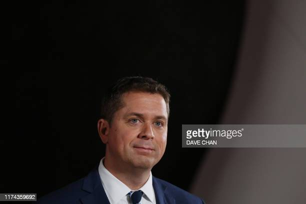 Conservative Party leader Andrew Scheer listens to questions during a press conference after the Federal Leaders Debate at the Canadian Museum of...