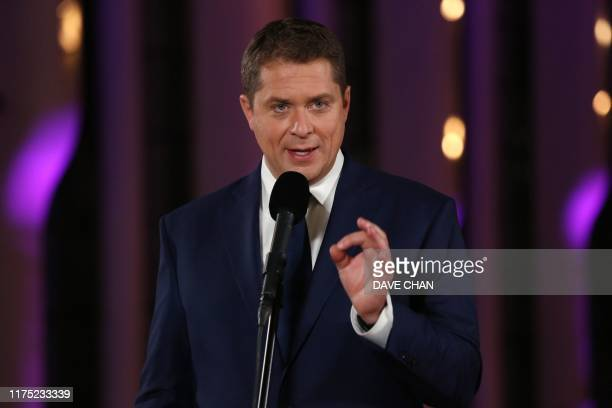 Conservative Party leaderAndrew Scheer speaks during a press conference following the Federal leaders French language debate at the Canadian Museum...