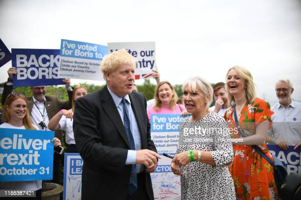 Conservative Party leadership candidate Boris Johnson with Nadine Dorries and Chief Secretary to the Treasury Liz Truss during a Tory leadership...