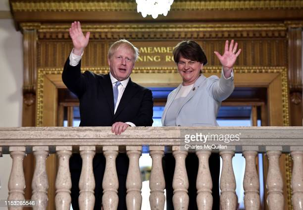 Conservative Party leadership contender Boris Johnson meets with DUP leader Arlene Foster at Stormont on July 2, 2019 in Belfast, Northern Ireland....