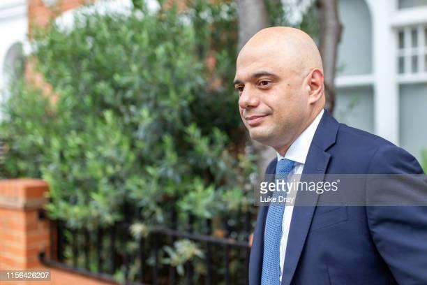 Conservative Party leadership contender Sajid Javid leaves his London home on June 17 2019 in London England Javid took part in a televised debate...