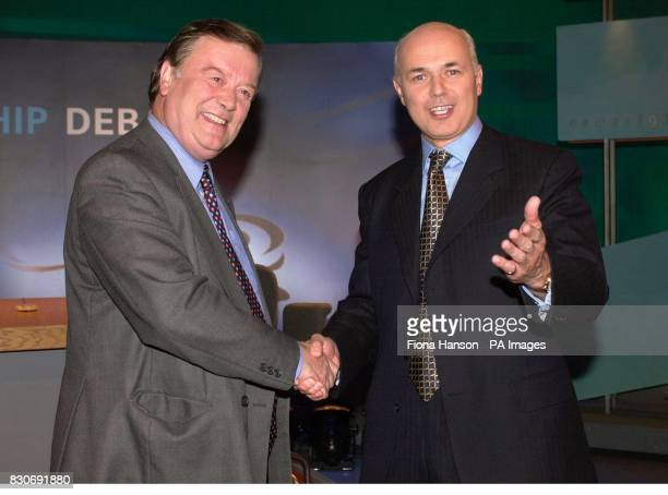 Conservative party leadership contenders Kenneth Clarke and Iain Duncan Smith shake hands before going head to head in a leadership debate for BBC2's...