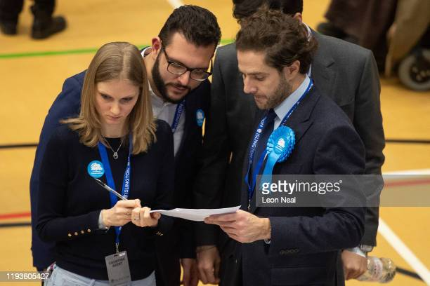 Conservative party members observe as the count takes place at the Sobell leisure centre on December 12 2019 in London England Labour leader Jeremy...