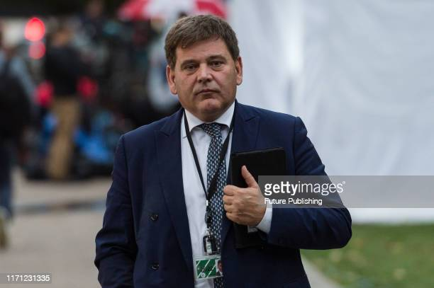 Conservative Party MP Andrew Bridgen is pictured outside the Houses of Parliament as MPs return to their duties after prorogation has been quashed by...