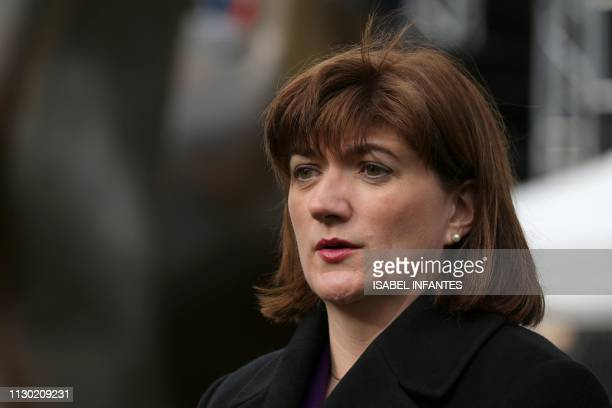 Conservative Party MP Nicky Morgan talks during an interview in the temporary media centre set up opposite the Houses of Parliament in London on...