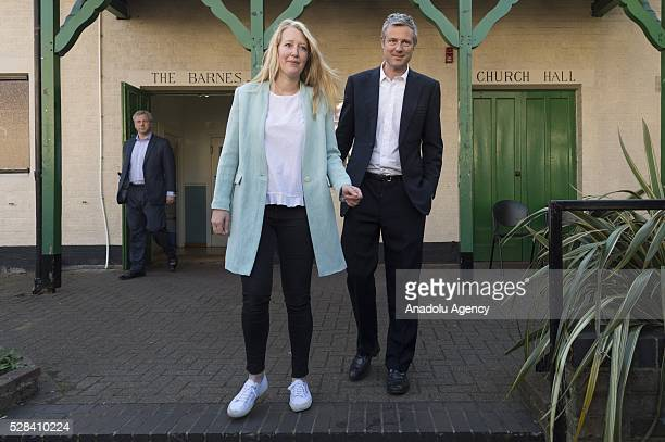 Conservative Party MP Zac Goldsmith and his wife Alice Goldsmith leave the polling station after they casted their votes within London Mayoral...
