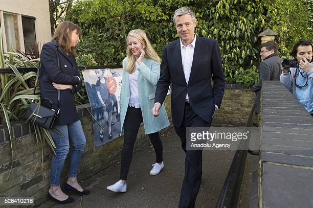 Conservative Party MP Zac Goldsmith and his wife Alice Goldsmith walk towards to the polling station to cast their votes within London Mayoral...