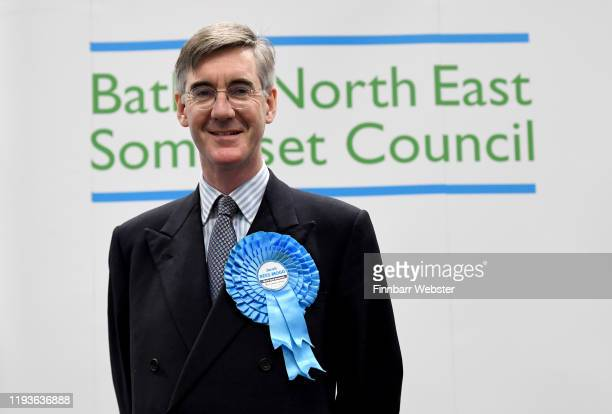 Conservative Party parliamentary candidate Jacob Rees-Mogg, after winning the North East Somerset constituency, at the Sports Training Village,...